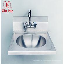 Edelstahl-Wand Hung Commercial Handwaschbecken mit Backsplash und Hahnloch für den öffentlichen Gebrauch