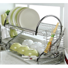 Stainless steel dish drain rack in the kitchen
