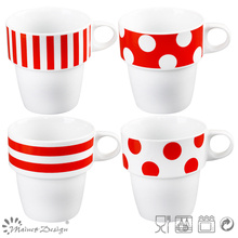 Decal empilable nouvelle tasse de porcelaine d'os