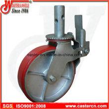 Roulette pivotante à roulettes en acier rouge de 8 pouces avec double frein