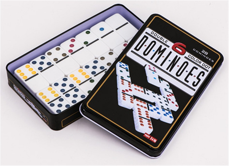 Colorful Dominoes In Tin box