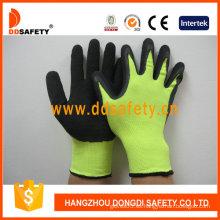 Guantes de látex de nylon, acabado arrugado, guantes de poliéster (DNL414)