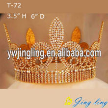 Full Round Gold Beauty Queen Crowns