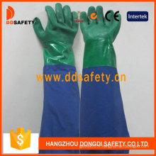 Gant en latex double couleur vert et bleu en PVC à manches longues (DHL511)