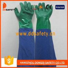 Double Color PVC Long Sleeve Green&Blue Latex Glove (DHL511)