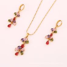 61698 mode großhandel china modeschmuck 18 karat zarte gut aussehende multicolor diamant vergoldet schmuck sets