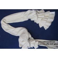 Cashmere Lady′s Raffly Scarf Gloves Set