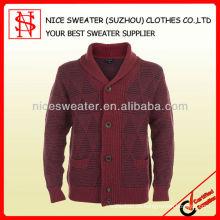 Hombres 50% lana 50% acrílico chal collar suéter de punto cardigan