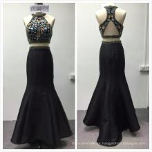 2018 instock designs luxury 2pcs set vestido de noche de sirena con cuentas pesadas