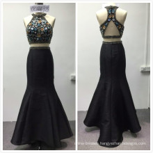 2018 instock designs luxury 2pcs set heavy beaded mermaid evening dress