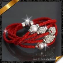 Leather Bracelets, Crystal Pave Bracelet, Charms Bracelet, Shamballa Pave Beads Leather Bracelets, Fashion Jewelry Supplier (FB081)