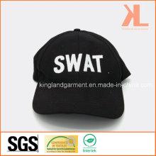 Хлопковая дрель Военная черная вышивальная вышивка Бейсбольная кепка
