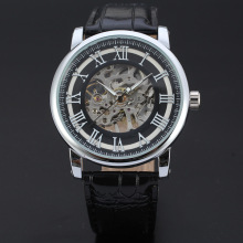 waterproof men mechanical watch with skeleton dial design
