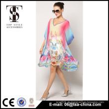Neue Damen übergroße V-Ausschnitt Fledermaushülse Poncho Strandabdeckung bis Kleid