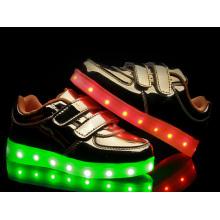 Gold Childen Mode Freizeit LED Schuhe