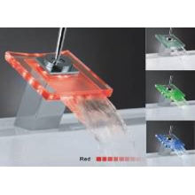 Square Acrylic / Brass Glass Waterfall Rgb Color Changing Led Faucet Light Ce, Rohs