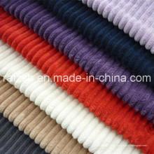 Fabrication en Chine de tous les types de tissu en velours côtelé en polyester