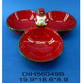 Prateleira de doces de cerâmica pintada à mão para decoração de natal
