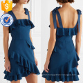 Latest Design 2019 Navy Ruffled Spaghetti Strap Mini Dress Manufacture Wholesale Fashion Women Apparel (TA0320D)