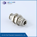 Air-Fluid Brass Nickel-Plated Bulkhead Union Push to Connect Fittings