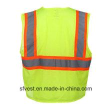 Klasse 2 100% Polyester Mesh Flourescent Sicherheit Warnung Westen