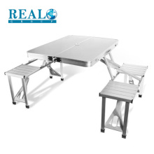 Portable popular aluminum table set foldable table and chair