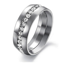 Fashion jewelry engagement wedding gift rings for women 316L Stainless Steel Channel-Set Eternity Ring
