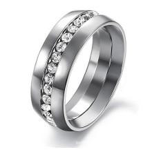 Anéis de presente de casamento de noivado de jóias de moda para as mulheres Anel de eternidade de canal set-316L de aço inoxidável