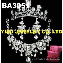 Роскошный свадебный кристалл ожерелье набор ювелирных изделий