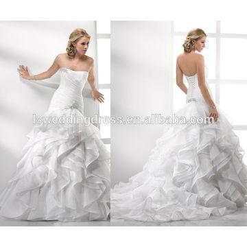 WD0020 Diamante brouch branco strapless sweetheart decote sereia falso corpete falso estratificado organza vestido de noiva sem mangas