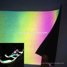 Cuero sintético iridiscente reflectante para zapatos