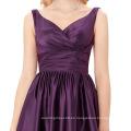 Grace Karin sin mangas de cuello en V satén púrpura vestido de fiesta de baile de fin de curso de cortocircuito del baile de fin de curso de color corto tamaño 8 tamaño EE.UU. 2 ~ 16 GK000126-2