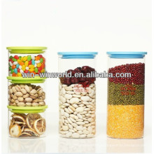 Borosilicate Customered Size Glass Storage Jar With Plastic Colored Stopper