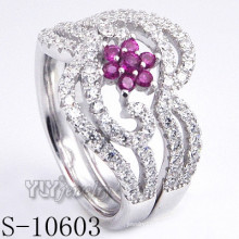 925 Sterling Silver Pink Zirconia Women Ring (S-10603)