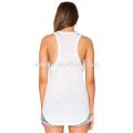 Distressed custom fitness wear gym plain white tank top