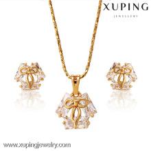 62654-Xuping 18K chapado en oro joyería fina elegante cristal joyas conjunto