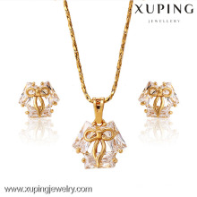 62654-Xuping 18k banhado a ouro jóias finas elegante conjunto de jóias de cristal
