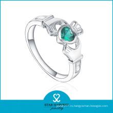 Изумрудный CZ Корона Shaped Серебряное кольцо ювелирных изделий (SH-R0499)