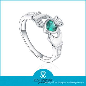 Esmeralda CZ corona en forma de anillo de joyería de plata (SH-R0499)