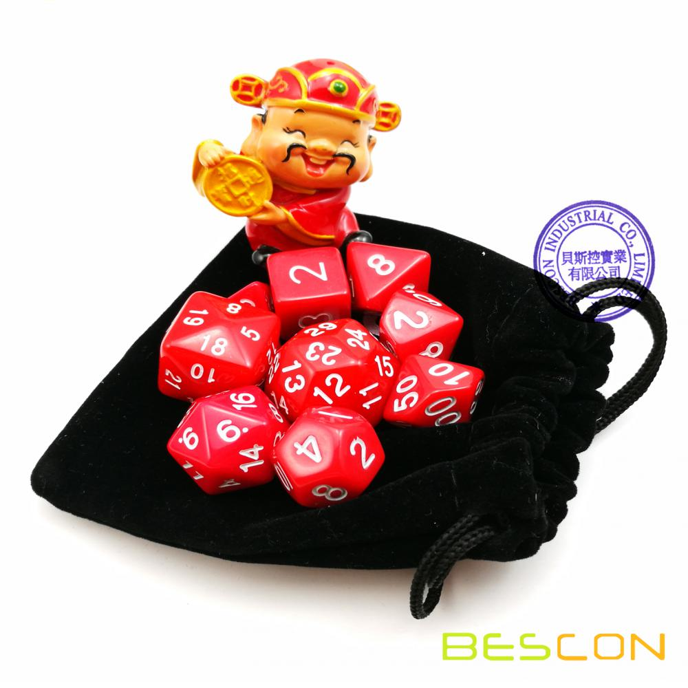 BESCON Pack of 9pcs Polyhedral Dice (9 Die in Set)- Role Playing Game Dice (RPG Dice) D4-D30 Marble Red Color