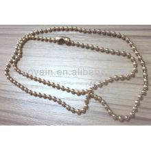 Colar de corrente de bola de chapeamento de ouro de jóias de aço inoxidável