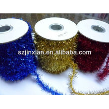 PET Christmas tinsel,tinsel flower garland