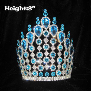 8in Height Crystal Pageant Crowns With Blue Diamonds