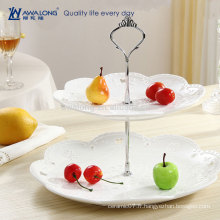 Modèle occidental Royal Pattern Pure White Fine Ceramic Round Wedding Deux couches en gâteau Plate, Crystal Cake Stand