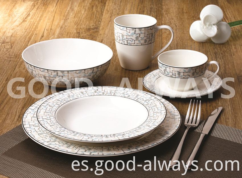 Nbc 725 New Bone China Tableware Set White And Platinum