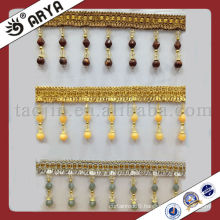1200d Polyester Hotsale New Design Fringe With Crochet Beaded Trim Curtain Accessories Fringe