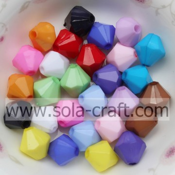 Fashion Jewelry Bicone Acrylic Solid Opaque Beads For Accessory