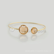 Bracelets à pierres précieuses plaqué or 925 en argent sterling fait à la main en gros Meilleur qualité Bezel Bracelets Fournisseur de bijoux