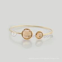 Handmade 925 Sterling Silver Gold Plated Gemstone Bracelets Atacado Melhor Qualidade Bezel Pulseiras Jóias Fornecedor