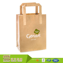 High Quality Wholesale Custom Made Recycled Brown Kraft Paper Bag With Flat Handle For Take Away